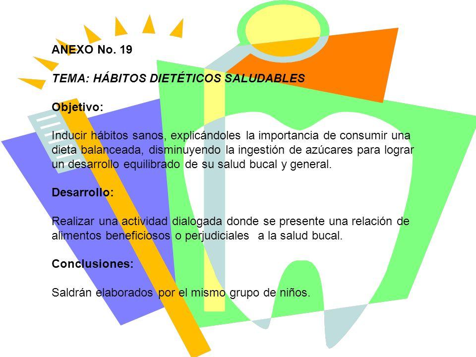 ANEXO No. 19 TEMA: HÁBITOS DIETÉTICOS SALUDABLES. Objetivo: