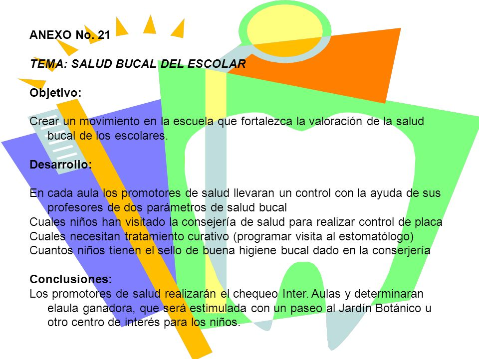 ANEXO No. 21 TEMA: SALUD BUCAL DEL ESCOLAR. Objetivo: