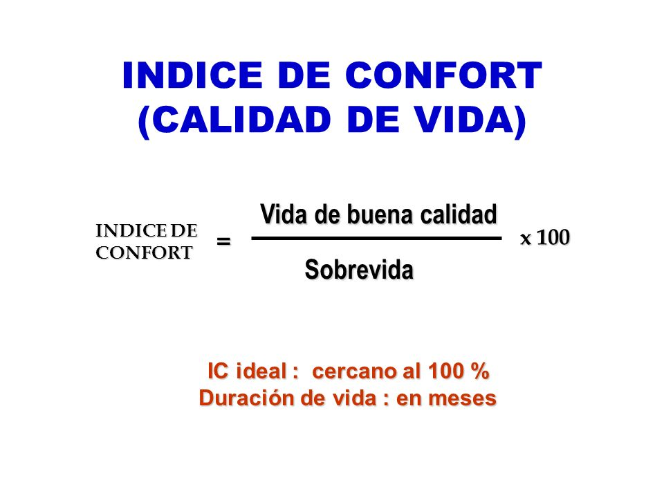 INDICE DE CONFORT (CALIDAD DE VIDA)