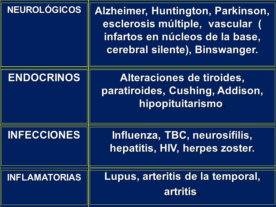 Influenza, TBC, neurosífilis, hepatitis, HIV, herpes zoster.