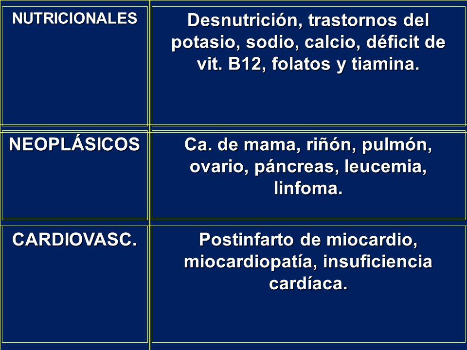 Ca. de mama, riñón, pulmón, ovario, páncreas, leucemia, linfoma.