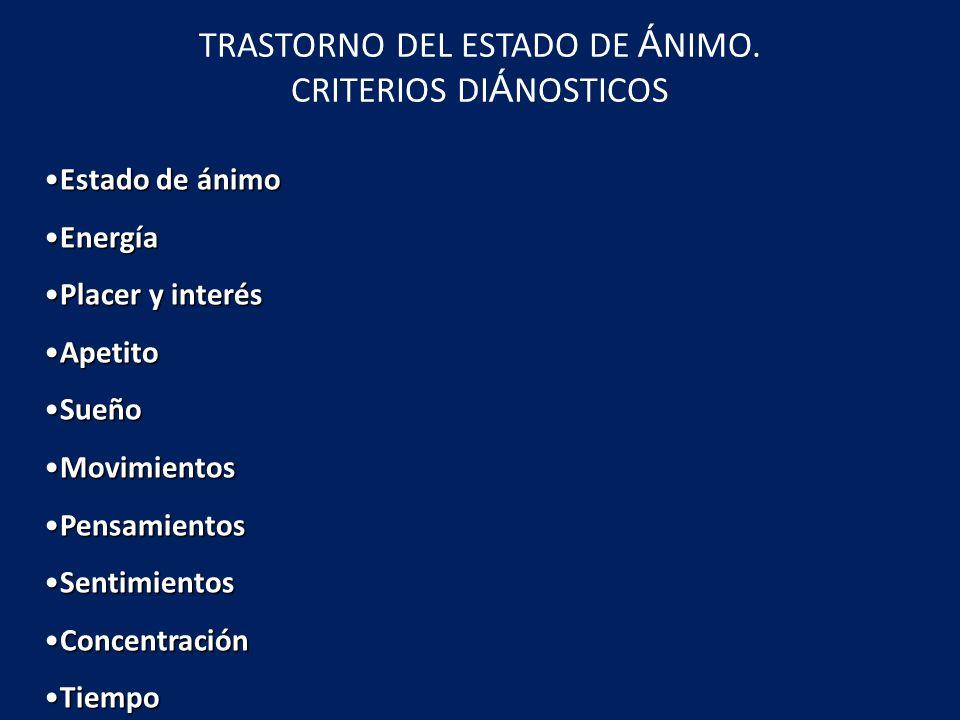 TRASTORNO DEL ESTADO DE ÁNIMO. CRITERIOS DIÁNOSTICOS
