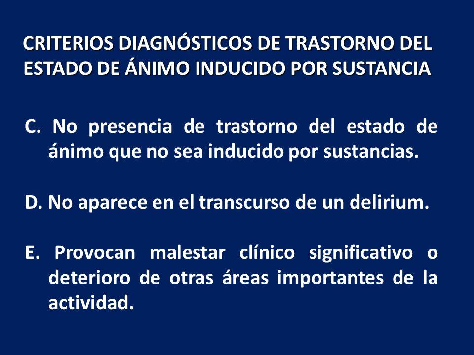 CRITERIOS DIAGNÓSTICOS DE TRASTORNO DEL ESTADO DE ÁNIMO INDUCIDO POR SUSTANCIA
