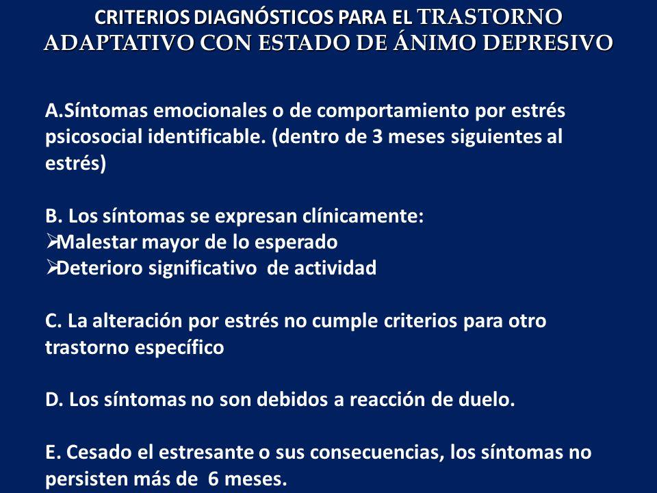 CRITERIOS DIAGNÓSTICOS PARA EL TRASTORNO ADAPTATIVO CON ESTADO DE ÁNIMO DEPRESIVO