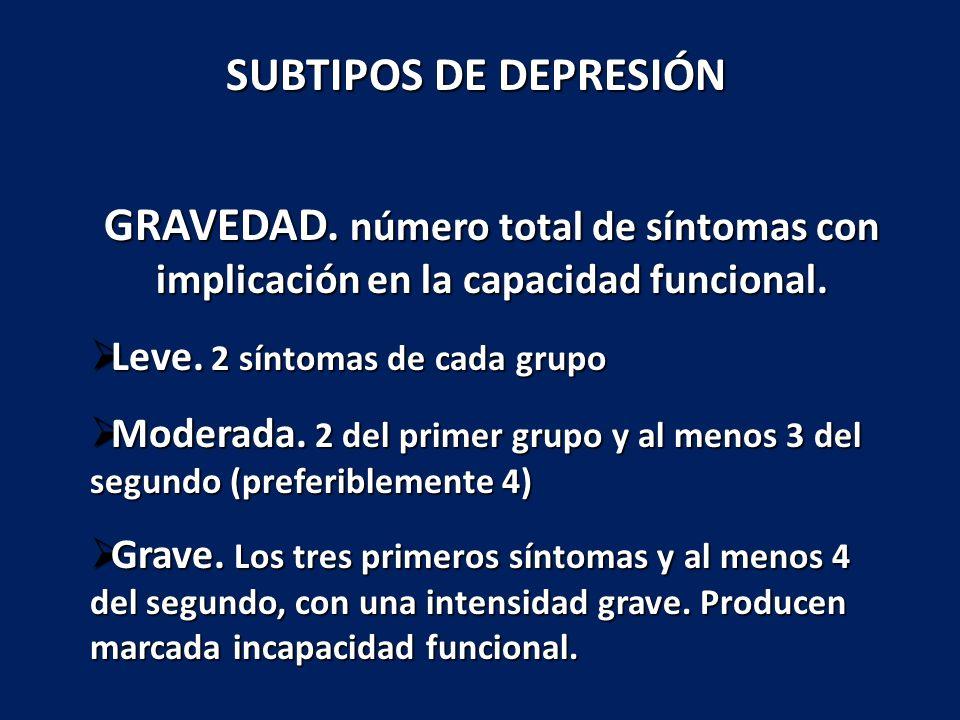 SUBTIPOS DE DEPRESIÓN GRAVEDAD. número total de síntomas con implicación en la capacidad funcional.