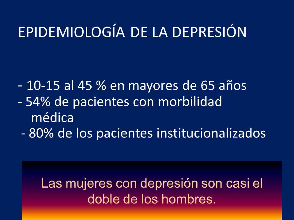 Las mujeres con depresión son casi el doble de los hombres.