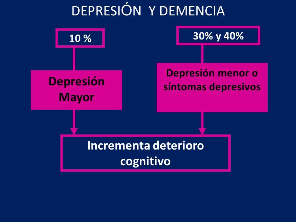 Depresión menor o síntomas depresivos Incrementa deterioro cognitivo