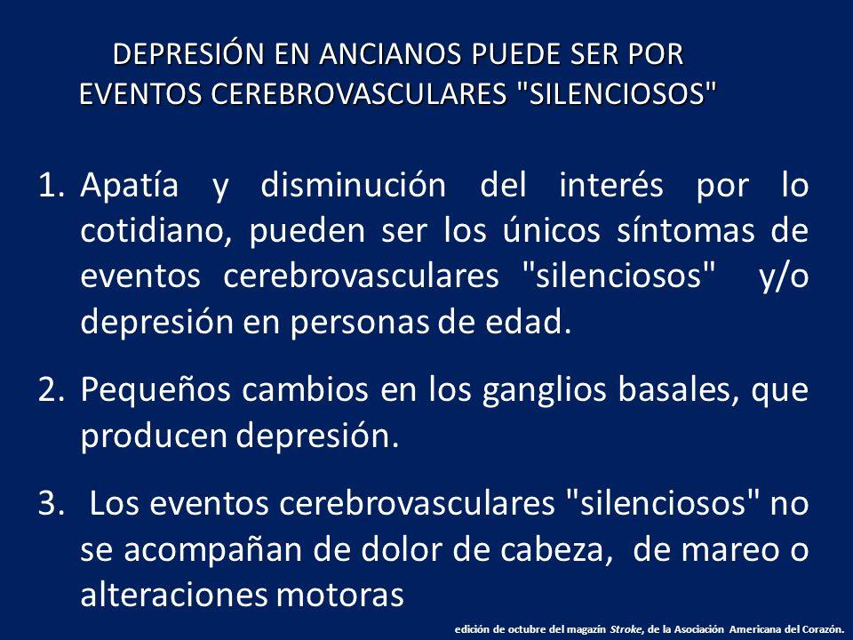 Pequeños cambios en los ganglios basales, que producen depresión.