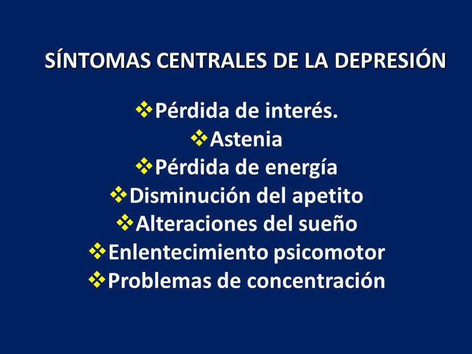 SÍNTOMAS CENTRALES DE LA DEPRESIÓN