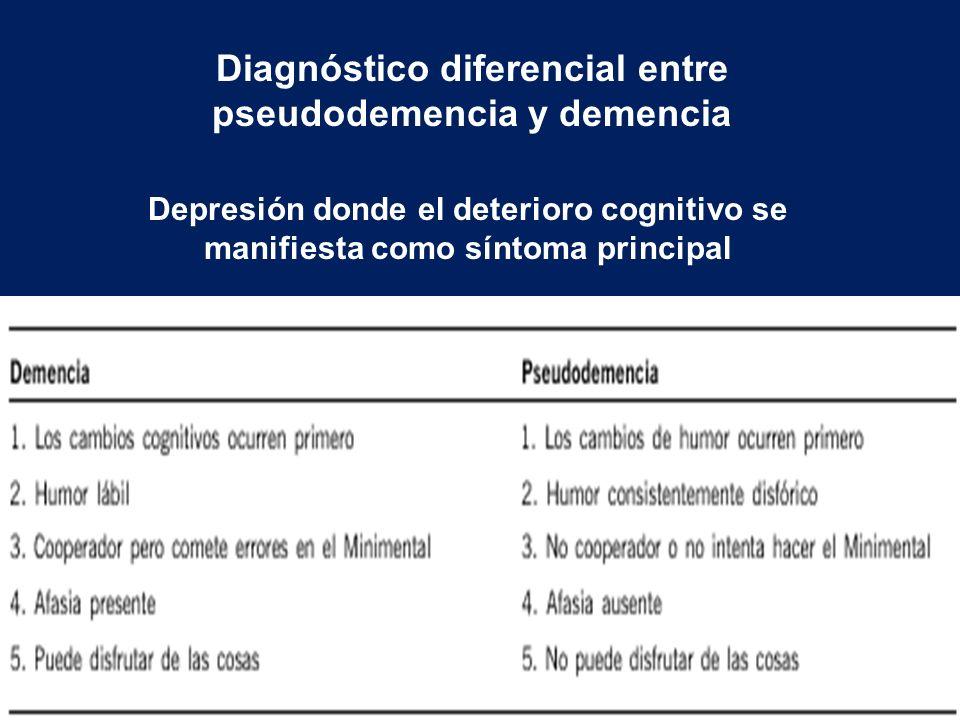 Diagnóstico diferencial entre pseudodemencia y demencia