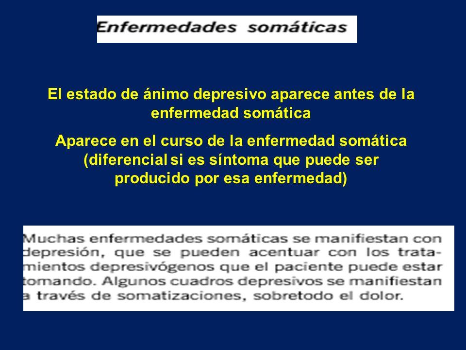 El estado de ánimo depresivo aparece antes de la enfermedad somática