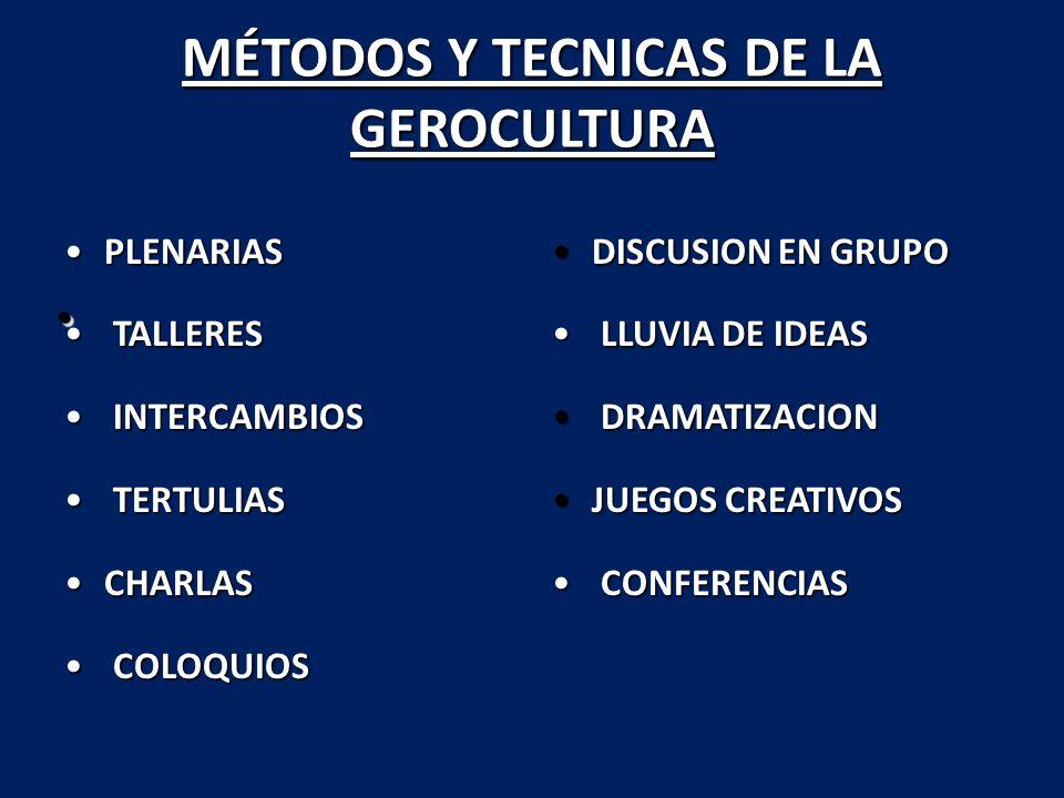 MÉTODOS Y TECNICAS DE LA GEROCULTURA