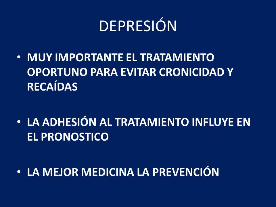 DEPRESIÓN MUY IMPORTANTE EL TRATAMIENTO OPORTUNO PARA EVITAR CRONICIDAD Y RECAÍDAS. LA ADHESIÓN AL TRATAMIENTO INFLUYE EN EL PRONOSTICO.