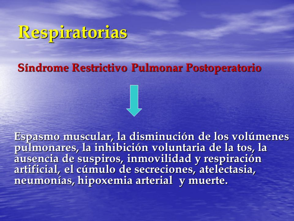 Respiratorias Síndrome Restrictivo Pulmonar Postoperatorio