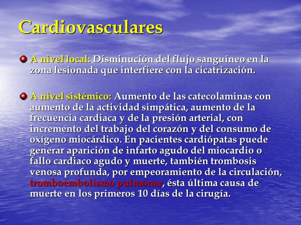 Cardiovasculares A nivel local: Disminución del flujo sanguíneo en la zona lesionada que interfiere con la cicatrización.
