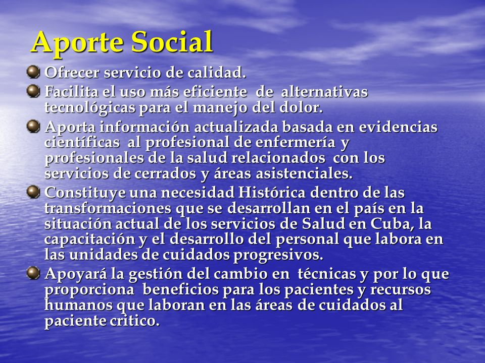Aporte Social Ofrecer servicio de calidad.