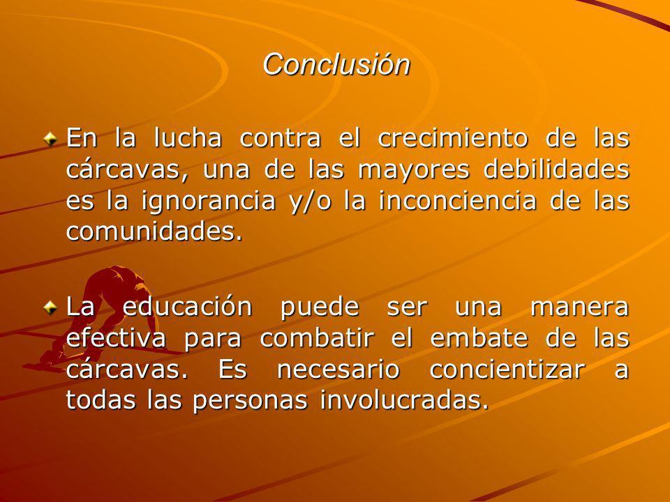 ConclusiónEn la lucha contra el crecimiento de las cárcavas, una de las mayores debilidades es la ignorancia y/o la inconciencia de las comunidades.