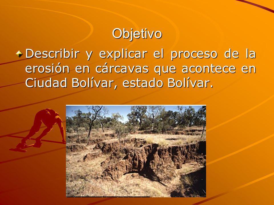 ObjetivoDescribir y explicar el proceso de la erosión en cárcavas que acontece en Ciudad Bolívar, estado Bolívar.