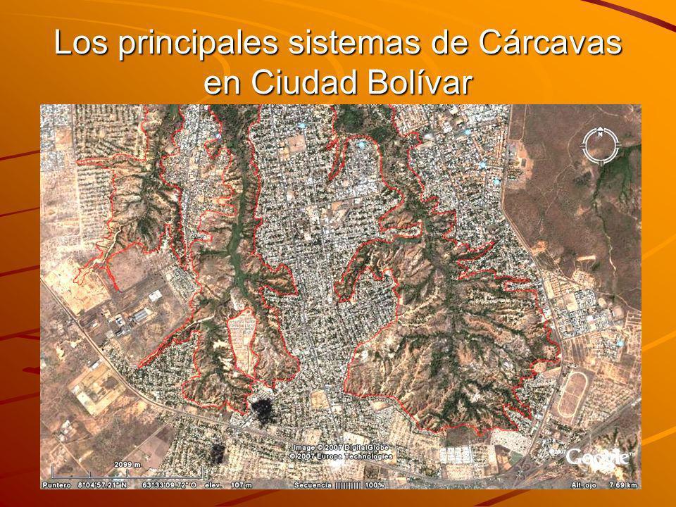 Los principales sistemas de Cárcavas en Ciudad Bolívar