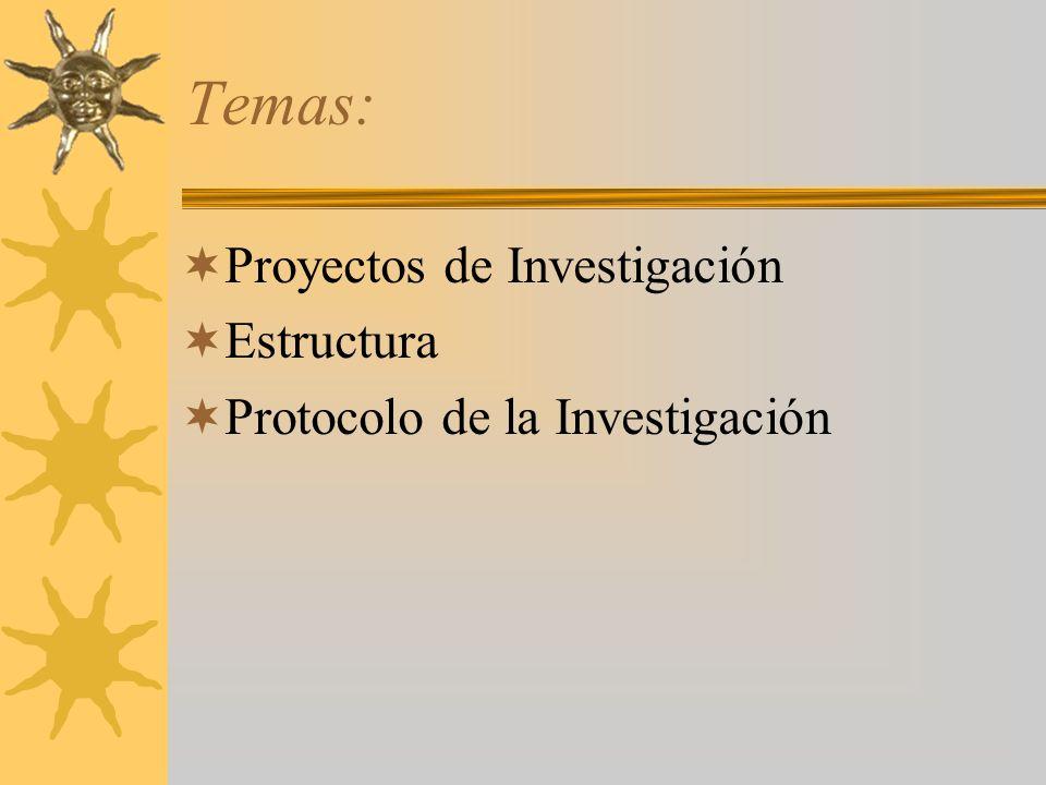 Temas: Proyectos de Investigación Estructura