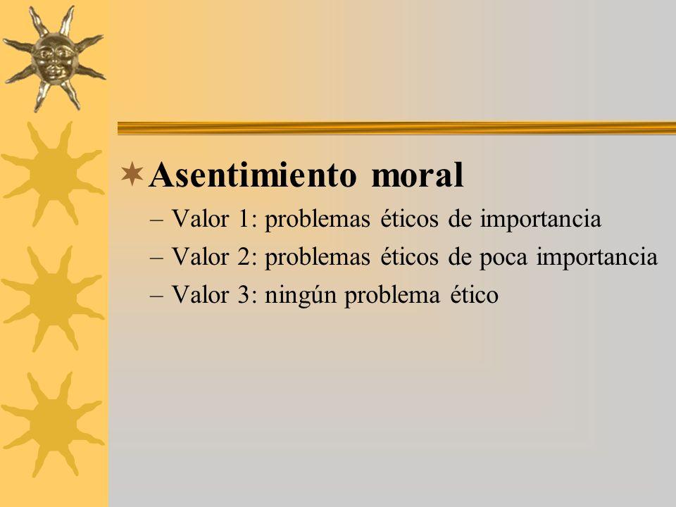 Asentimiento moral Valor 1: problemas éticos de importancia