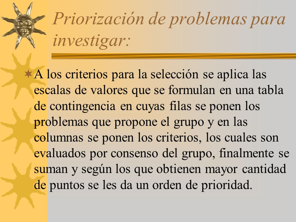 Priorización de problemas para investigar:
