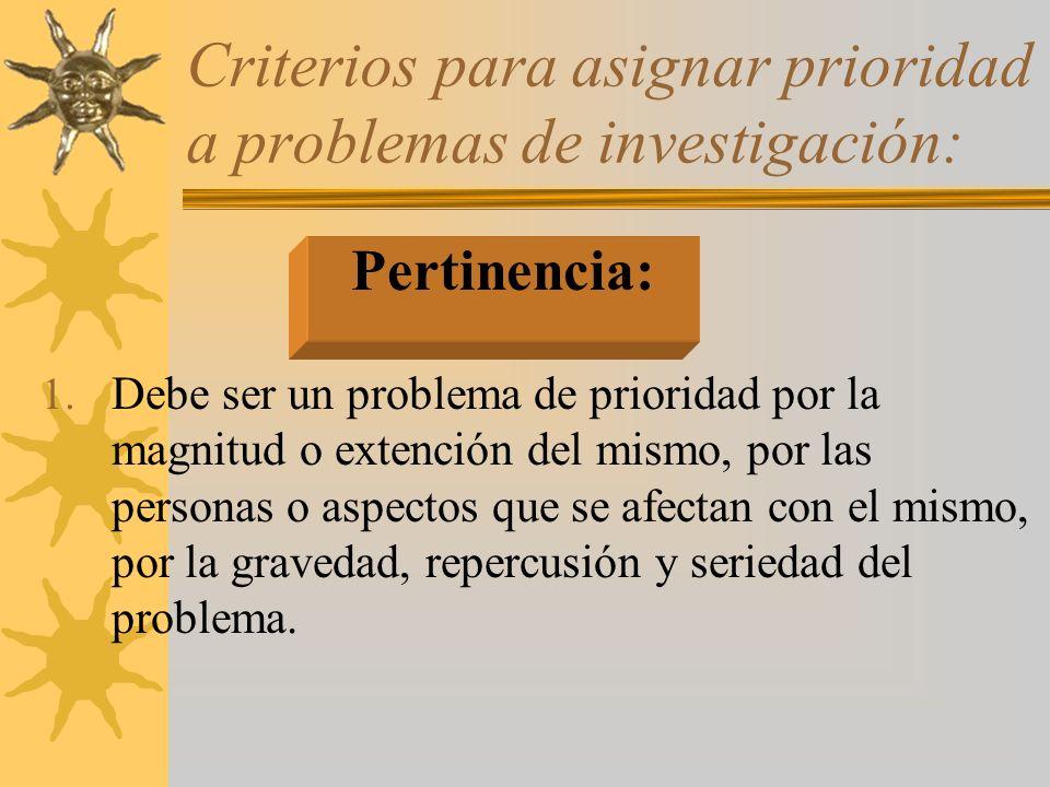 Criterios para asignar prioridad a problemas de investigación: