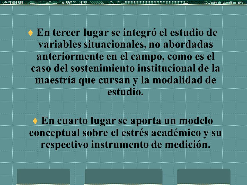 En tercer lugar se integró el estudio de variables situacionales, no abordadas anteriormente en el campo, como es el caso del sostenimiento institucional de la maestría que cursan y la modalidad de estudio.