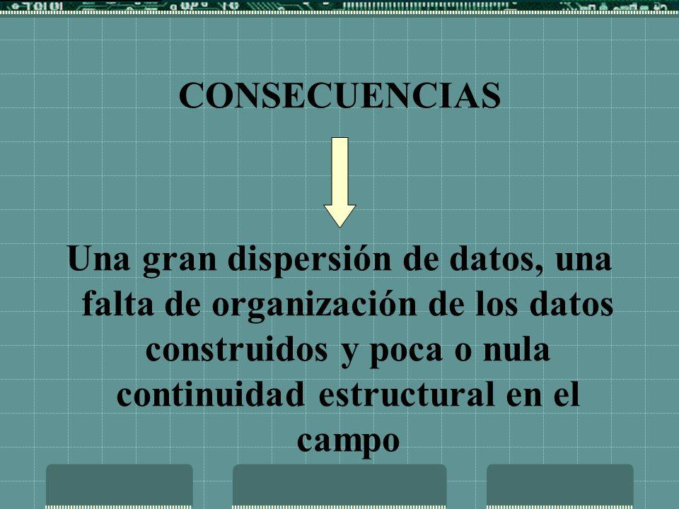 CONSECUENCIAS Una gran dispersión de datos, una falta de organización de los datos construidos y poca o nula continuidad estructural en el campo.