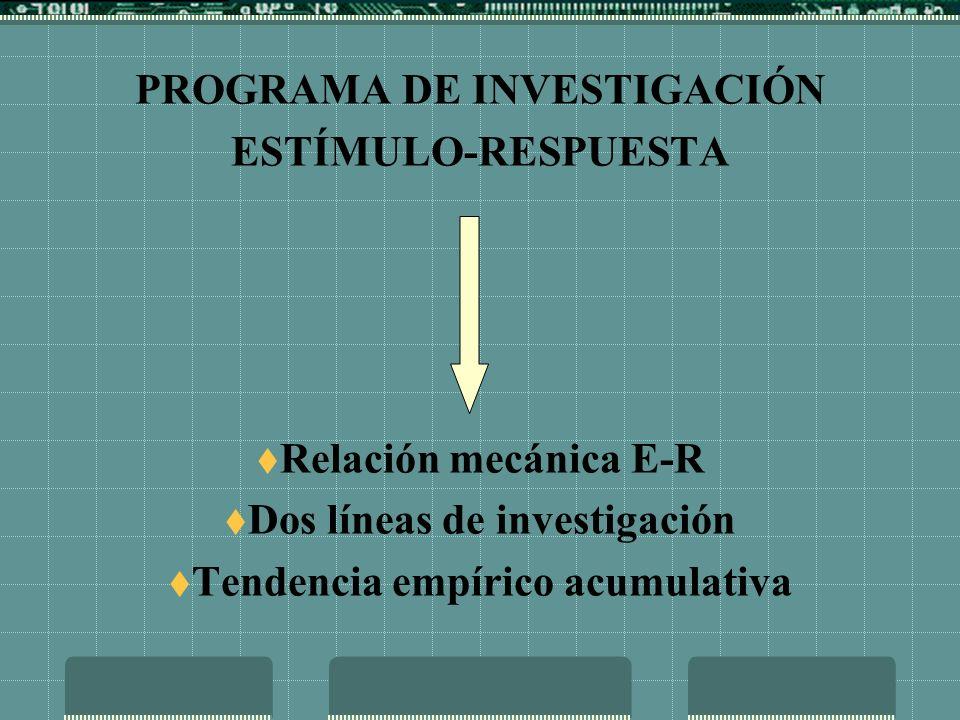 PROGRAMA DE INVESTIGACIÓN ESTÍMULO-RESPUESTA