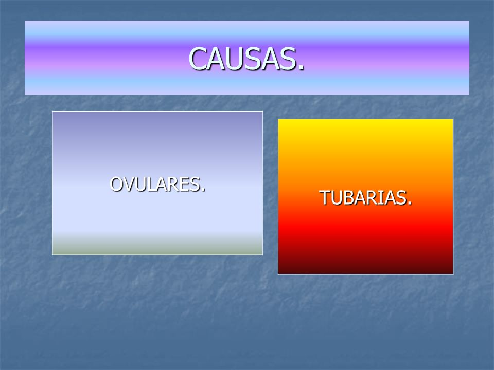 CAUSAS. OVULARES. TUBARIAS. Causas Ovulares.