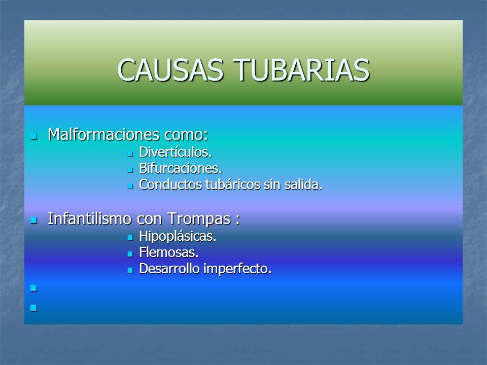 CAUSAS TUBARIAS Malformaciones como: Infantilismo con Trompas :