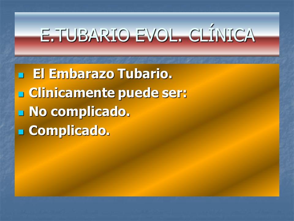E.TUBARIO EVOL. CLÍNICA El Embarazo Tubario. Clinicamente puede ser: