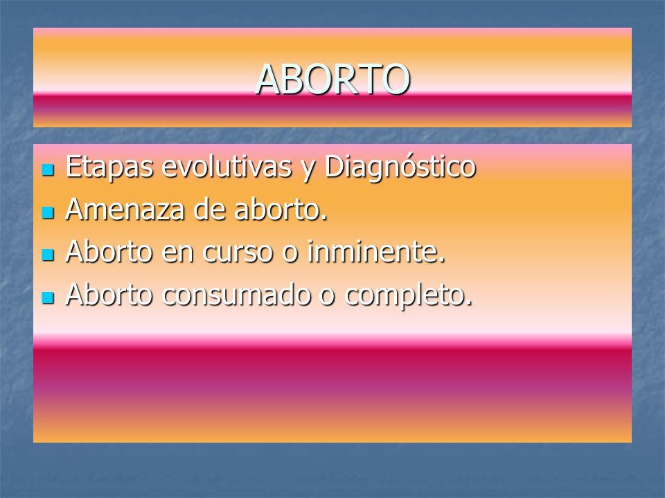 ABORTO Etapas evolutivas y Diagnóstico Amenaza de aborto.