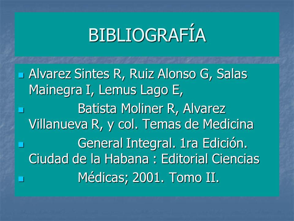 BIBLIOGRAFÍA Alvarez Sintes R, Ruiz Alonso G, Salas Mainegra I, Lemus Lago E, Batista Moliner R, Alvarez Villanueva R, y col. Temas de Medicina.