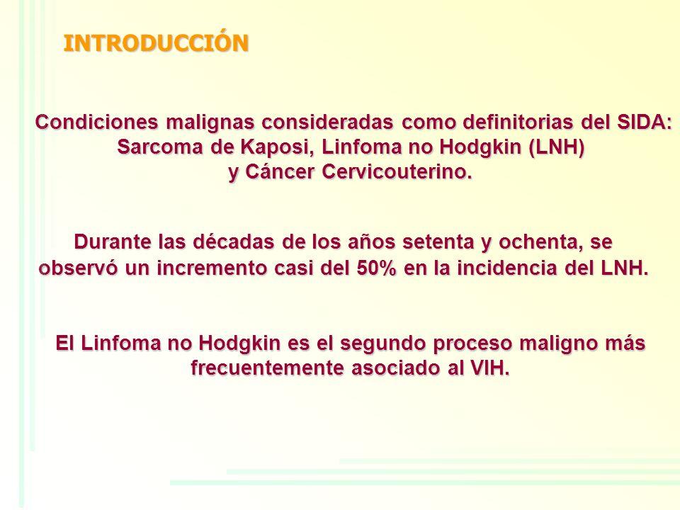 INTRODUCCIÓN Condiciones malignas consideradas como definitorias del SIDA: Sarcoma de Kaposi, Linfoma no Hodgkin (LNH)