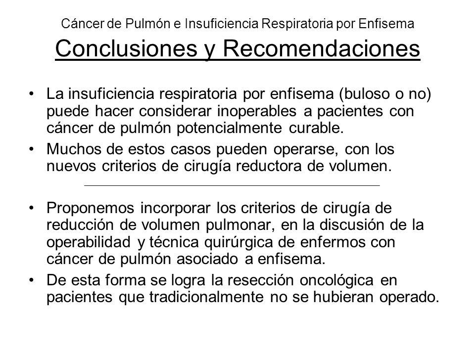 Cáncer de Pulmón e Insuficiencia Respiratoria por Enfisema Conclusiones y Recomendaciones