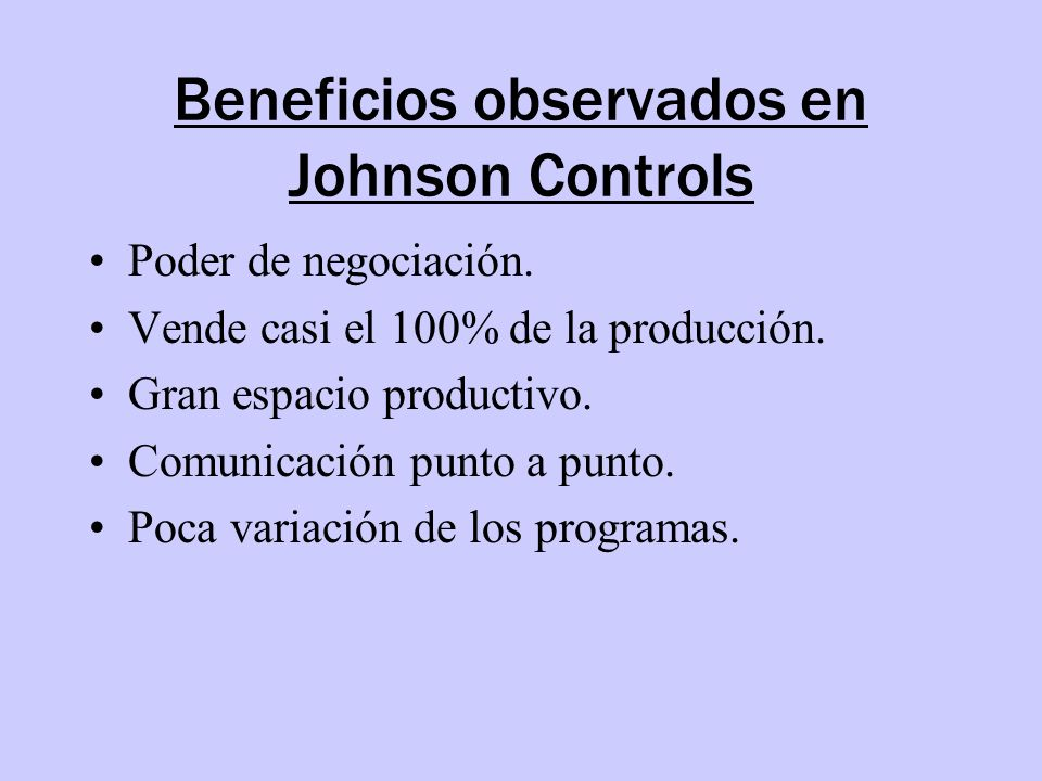 Beneficios observados en Johnson Controls