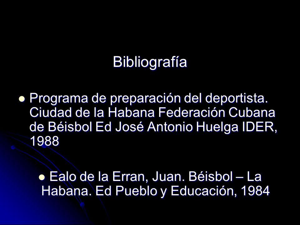 Bibliografía Programa de preparación del deportista. Ciudad de la Habana Federación Cubana de Béisbol Ed José Antonio Huelga IDER, 1988.