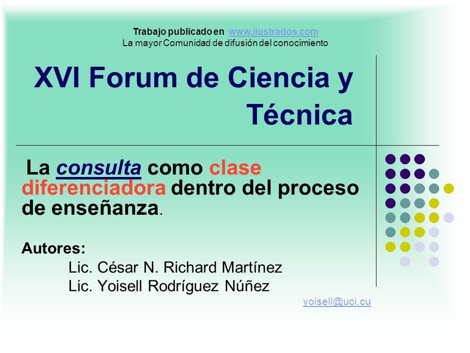 XVI Forum de Ciencia y Técnica