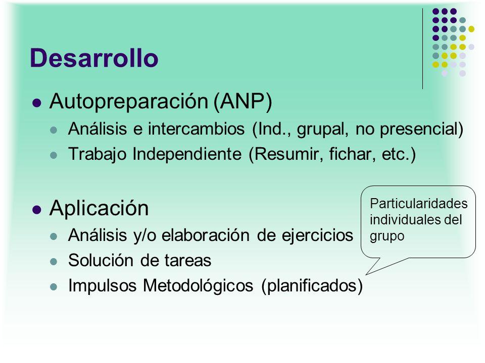 Desarrollo Autopreparación (ANP) Aplicación