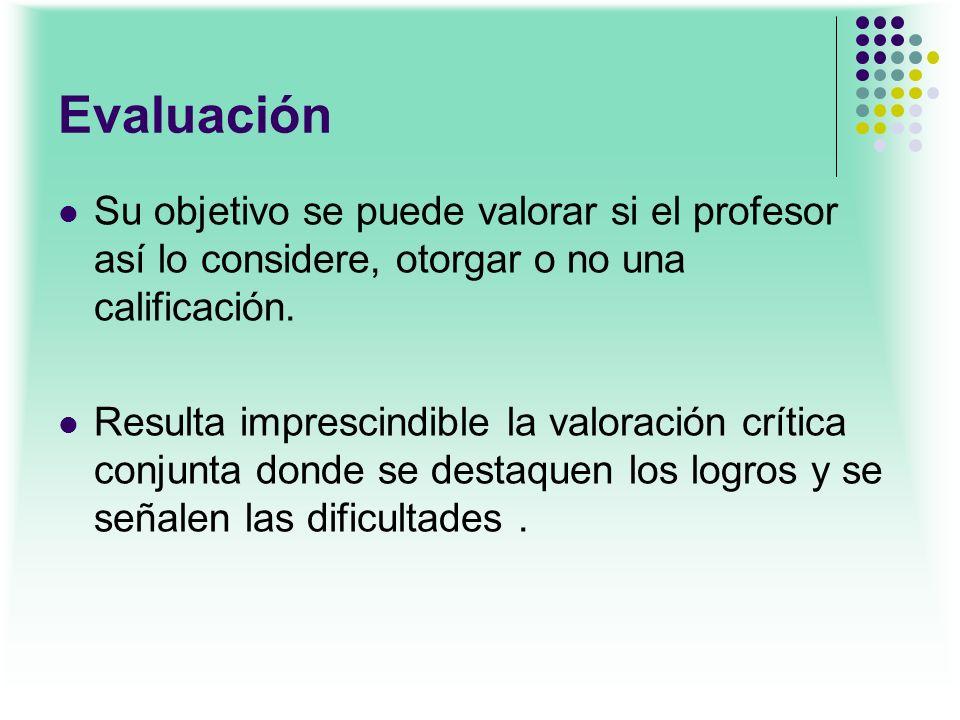 Evaluación Su objetivo se puede valorar si el profesor así lo considere, otorgar o no una calificación.