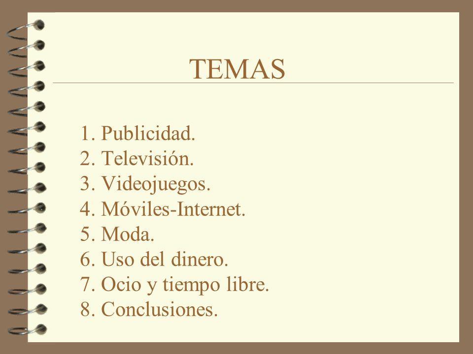 TEMAS 1. Publicidad. 2. Televisión. 3. Videojuegos.