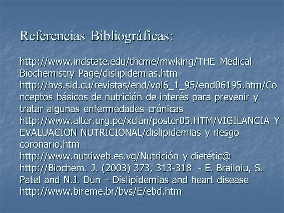 Referencias Bibliográficas: http://www. indstate