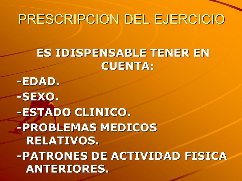 PRESCRIPCION DEL EJERCICIO