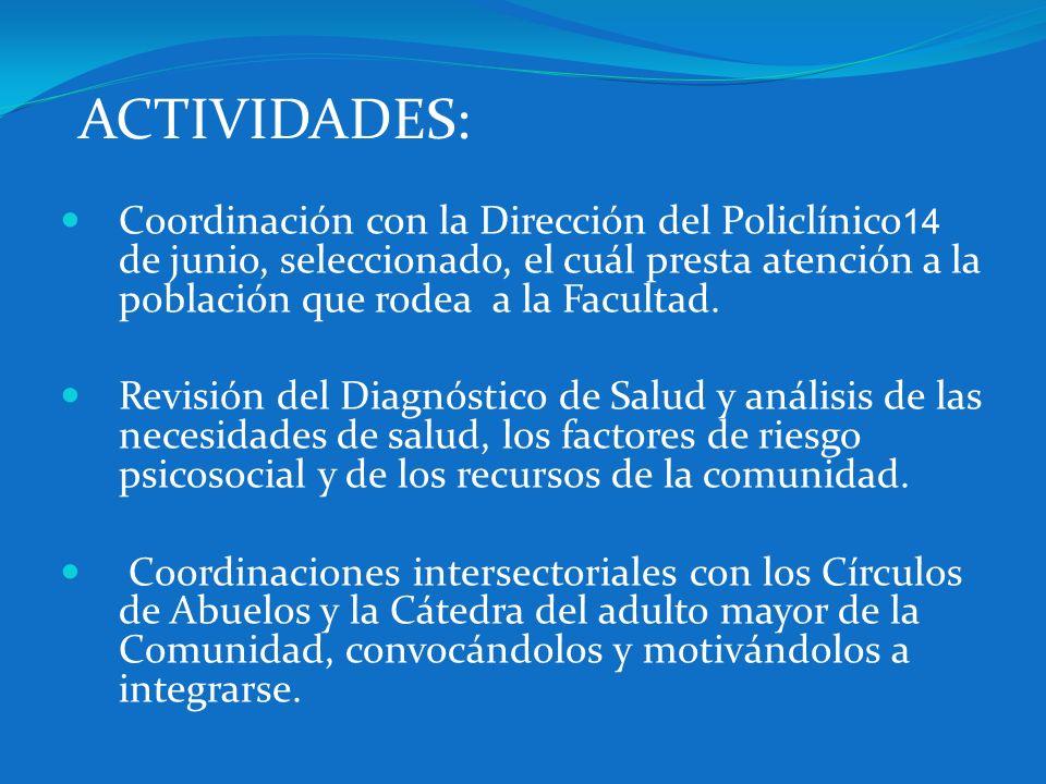 ACTIVIDADES:Coordinación con la Dirección del Policlínico14 de junio, seleccionado, el cuál presta atención a la población que rodea a la Facultad.