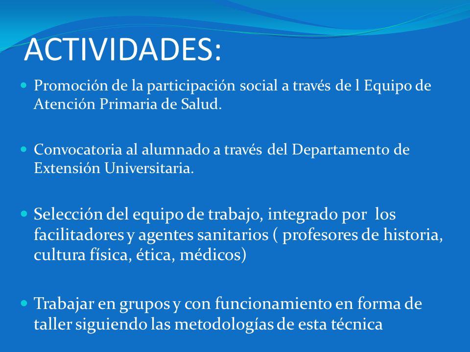 ACTIVIDADES: Promoción de la participación social a través de l Equipo de Atención Primaria de Salud.