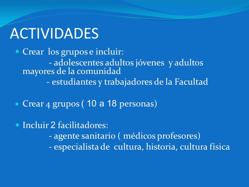 ACTIVIDADES Crear los grupos e incluir:
