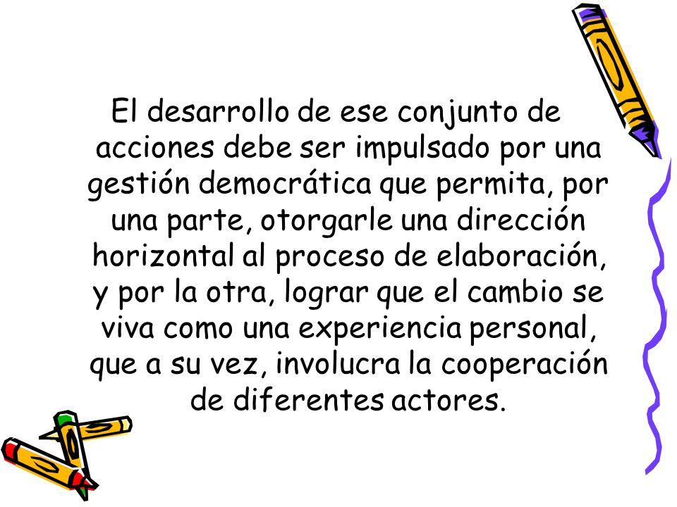 El desarrollo de ese conjunto de acciones debe ser impulsado por una gestión democrática que permita, por una parte, otorgarle una dirección horizontal al proceso de elaboración, y por la otra, lograr que el cambio se viva como una experiencia personal, que a su vez, involucra la cooperación de diferentes actores.
