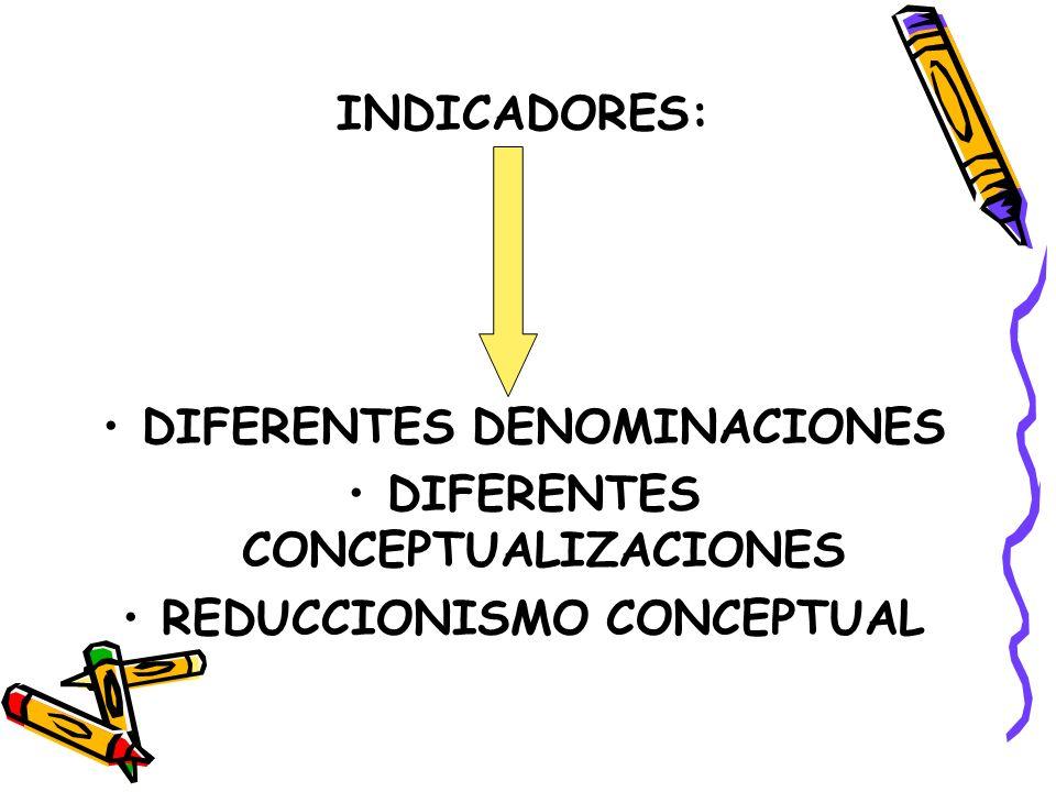 DIFERENTES DENOMINACIONES DIFERENTES CONCEPTUALIZACIONES